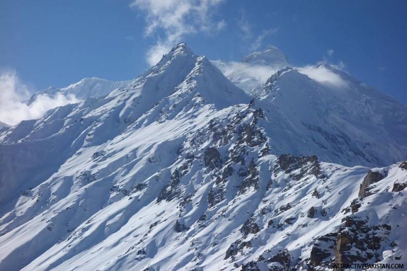 Rama and Rakhiot Peak (December 2015) -- Rama peak and Rakhiot peak seen from around 5000m high ridge in Rama. Dec 2015